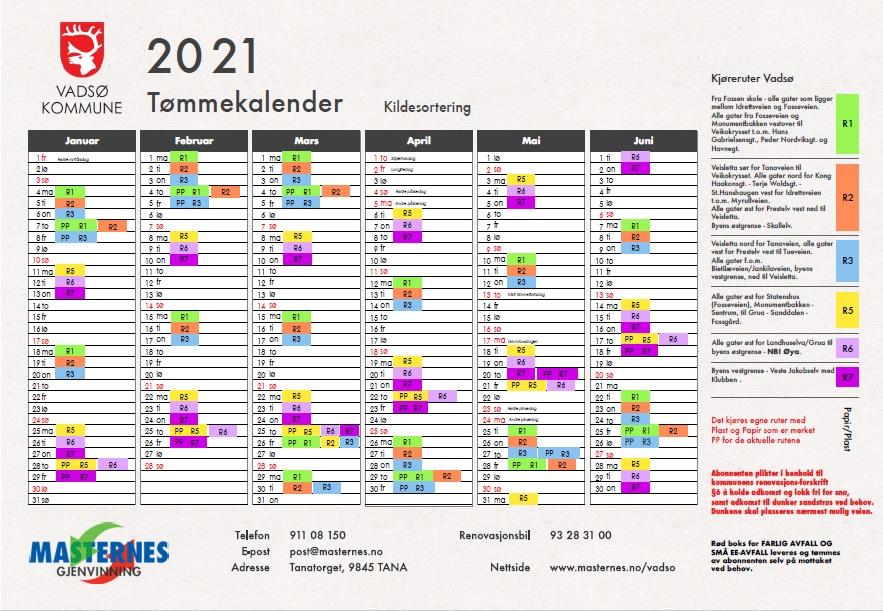 Tømmekalender 2021 for Vadsø Kommune